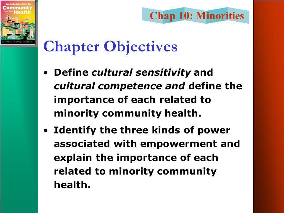 Chap 10: Minorities Chapter Objectives Define cultural sensitivity and cultural competence and define the importance of each related to minority community health.