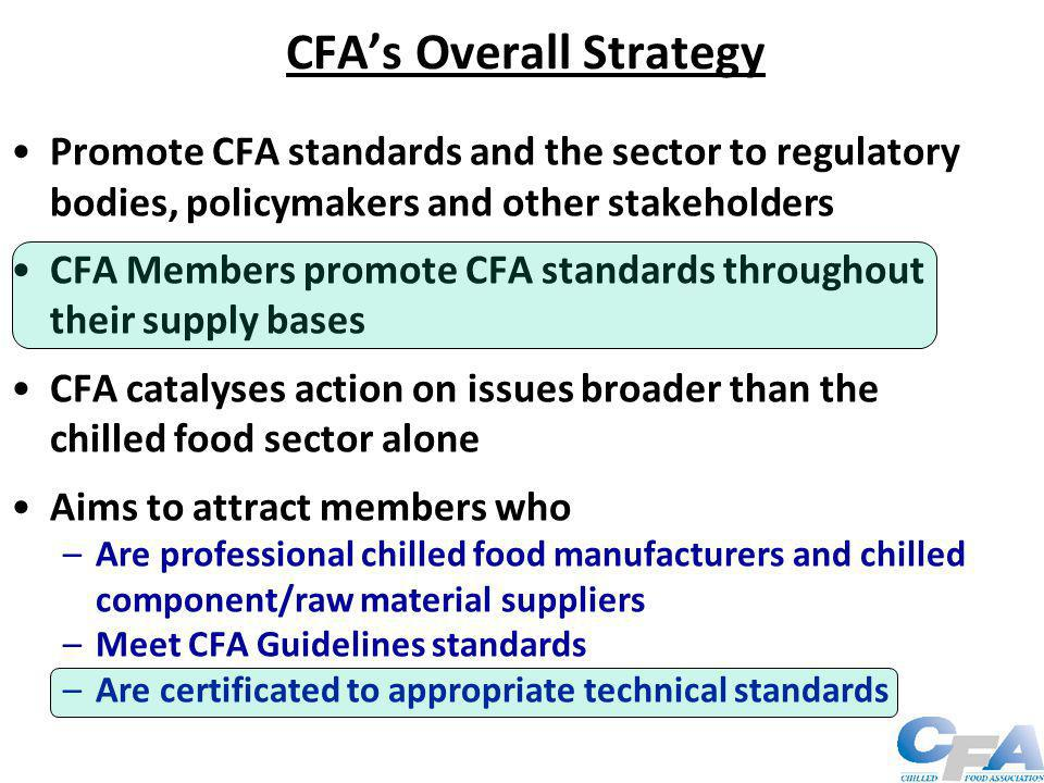 Standards & Certification CFA is founded on Standards and certification CFA membership requirements –Statement of compliance with CFA's Guidelines –Supporting reference from an existing member –Corroborative competence information –BRC or IFS certificate + non-conformances and close-outs –CV of the person responsible for food safety 14/12/89 Minister for Food Safety, David Maclean –First edition CFA Guidelines + Accreditation Scheme –BRC endorsement  aspired reduction in audits – launched – created at CFA's request Who audits the auditor?