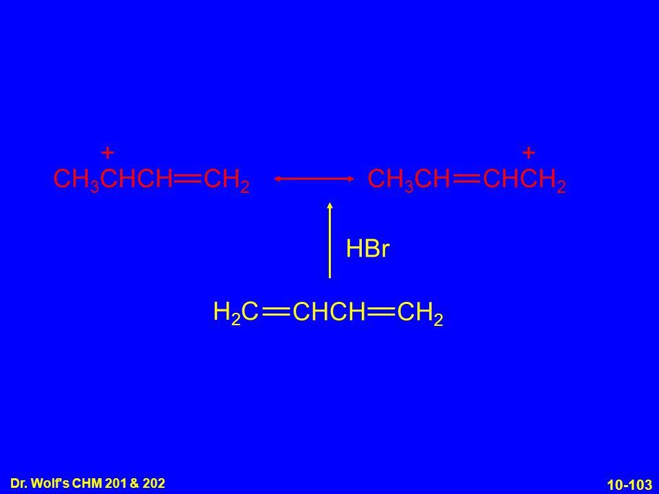 10-103 Dr. Wolf s CHM 201 & 202 H2CH2C CHCH CH 2 HBr CH 2 CH 3 CHCH CHCH 2 CH 3 CH ++