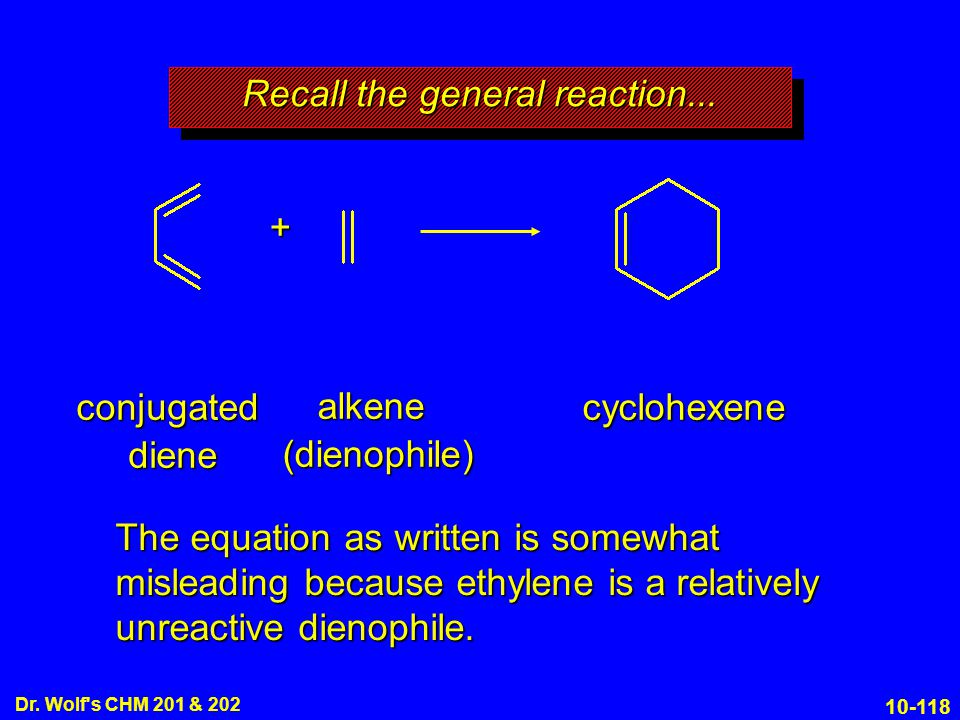 10-118 Dr. Wolf's CHM 201 & 202 conjugated diene alkene (dienophile) cyclohexene + Recall the general reaction... The equation as written is somewhat