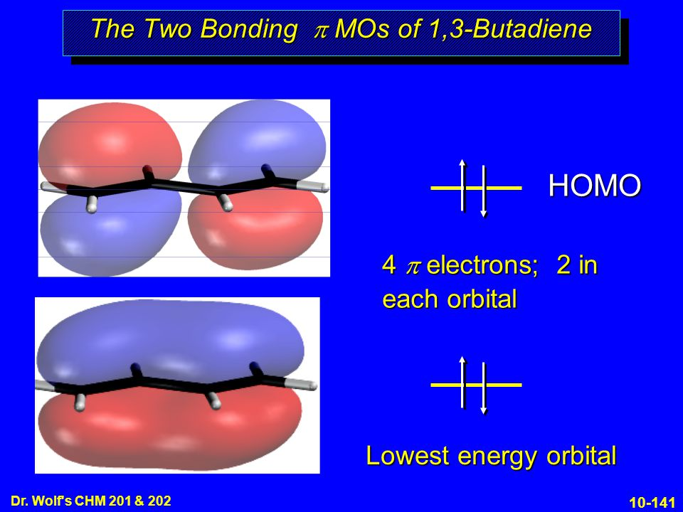 10-141 Dr. Wolf's CHM 201 & 202 The Two Bonding  MOs of 1,3-Butadiene Lowest energy orbital 4  electrons; 2 in each orbital HOMO
