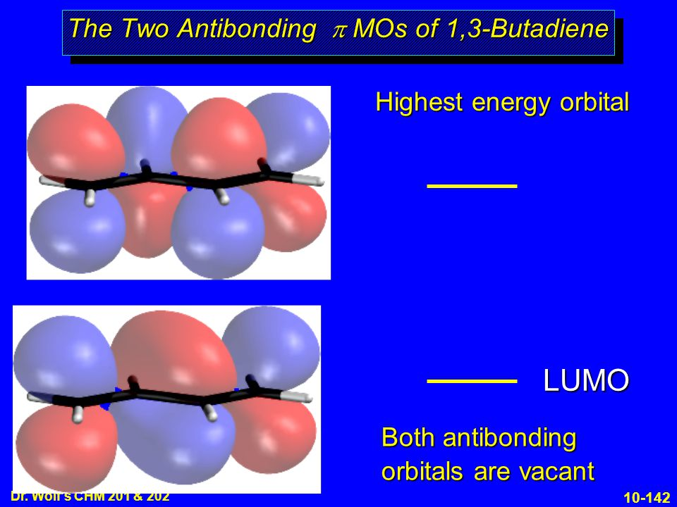 10-142 Dr. Wolf's CHM 201 & 202 The Two Antibonding  MOs of 1,3-Butadiene Highest energy orbital Both antibonding orbitals are vacant LUMO