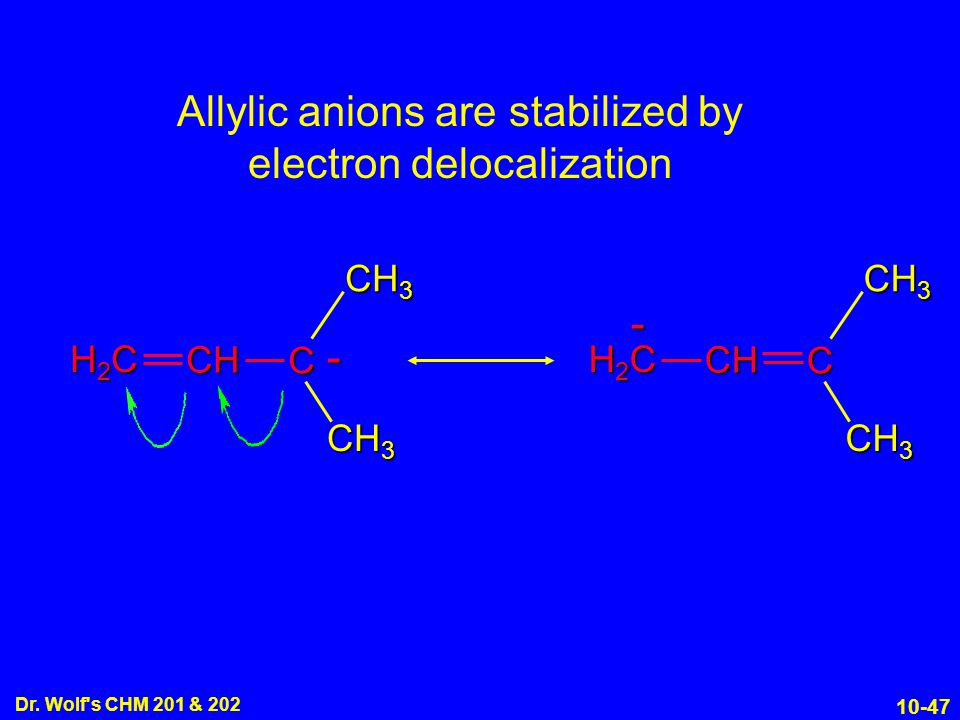 10-47 Dr. Wolf's CHM 201 & 202 CH 3 H2CH2CH2CH2C CH - C H2CH2CH2CH2C CH - C Allylic anions are stabilized by electron delocalization