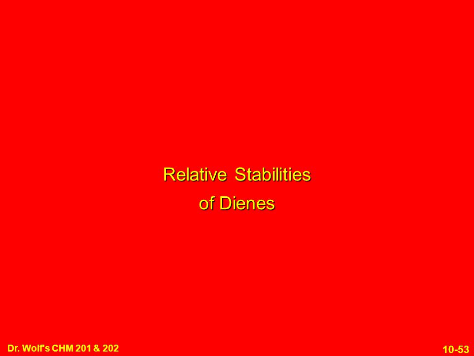 10-53 Dr. Wolf's CHM 201 & 202 Relative Stabilities of Dienes