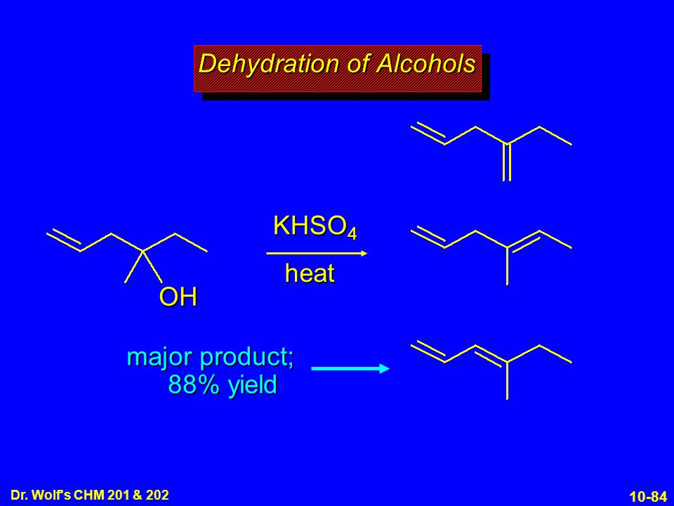 10-84 Dr. Wolf's CHM 201 & 202 KHSO 4 heat Dehydration of Alcohols OH major product; 88% yield
