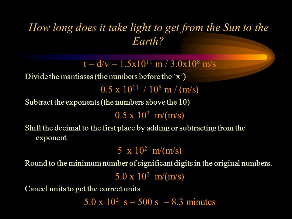 How long does it take light to get from the Sun to the Earth.