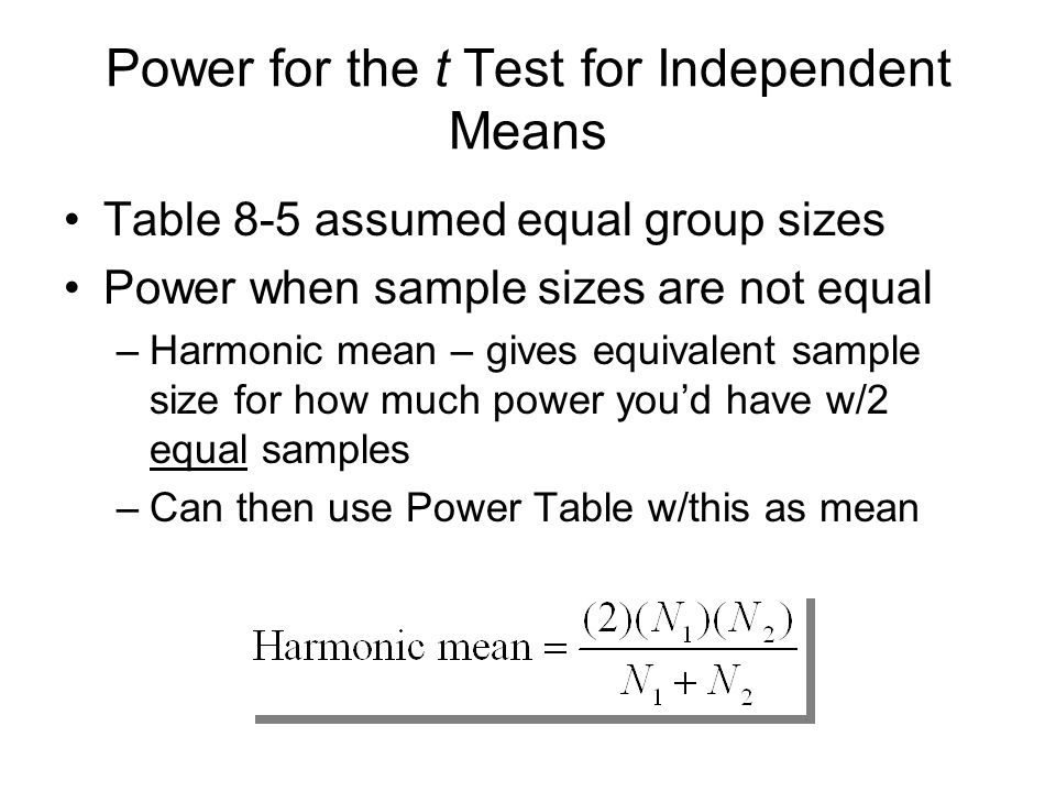Power for the t Test for Independent Means Table 8-5 assumed equal group sizes Power when sample sizes are not equal –Harmonic mean – gives equivalent