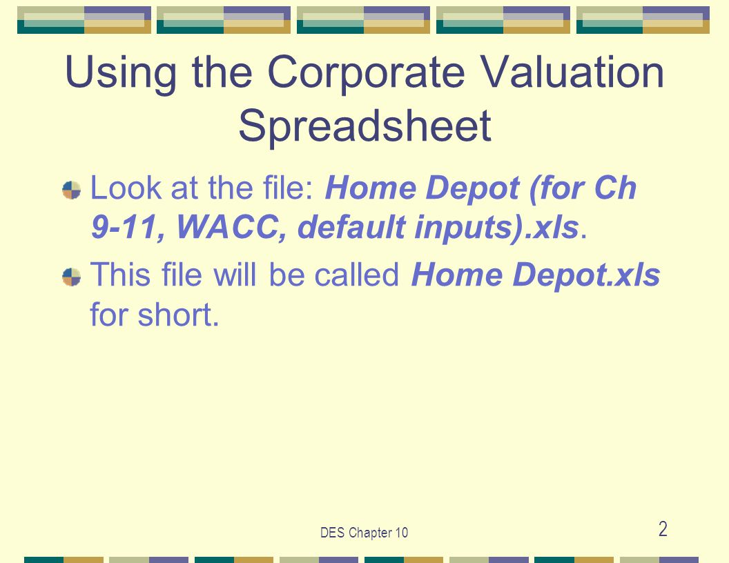 Des chapter 10 1 des chapter 10 the condensed financial statements des chapter 10 2 using the corporate valuation spreadsheet look at the file home depot biocorpaavc