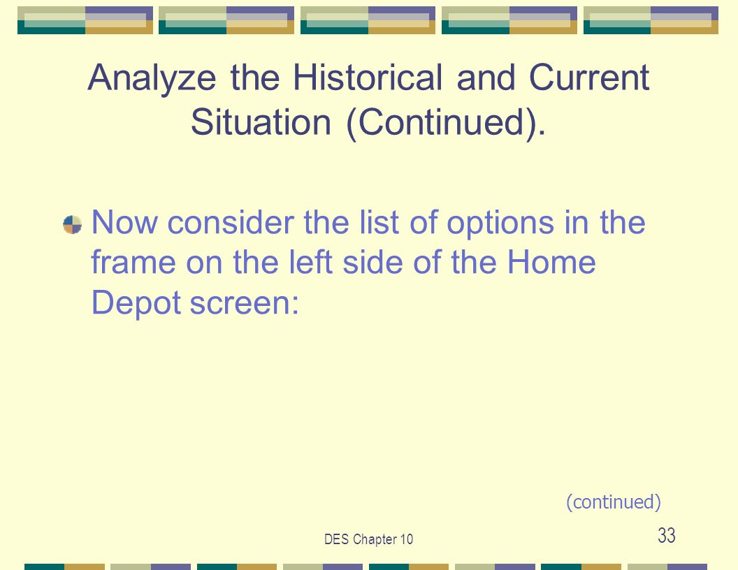 DES Chapter 10 33 Analyze the Historical and Current Situation (Continued).
