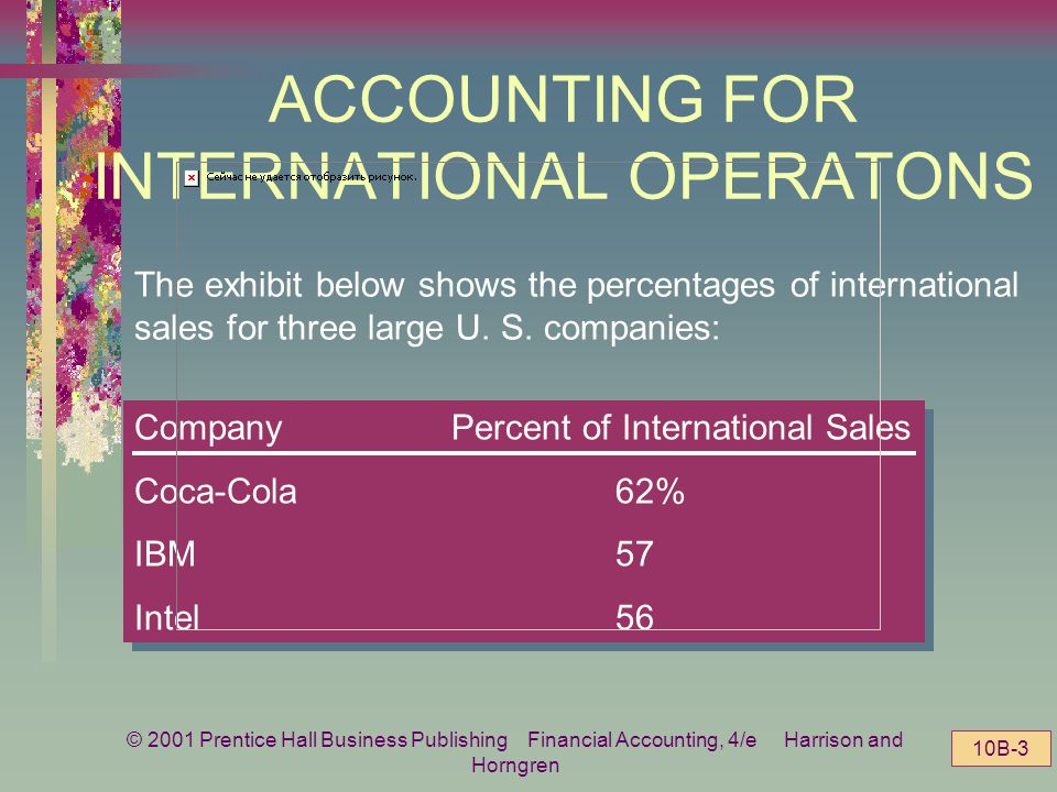 © 2001 Prentice Hall Business Publishing Financial Accounting, 4/e Harrison and Horngren 10B-2 ACCOUNTING FOR INTERNATIONAL OPERATIONS