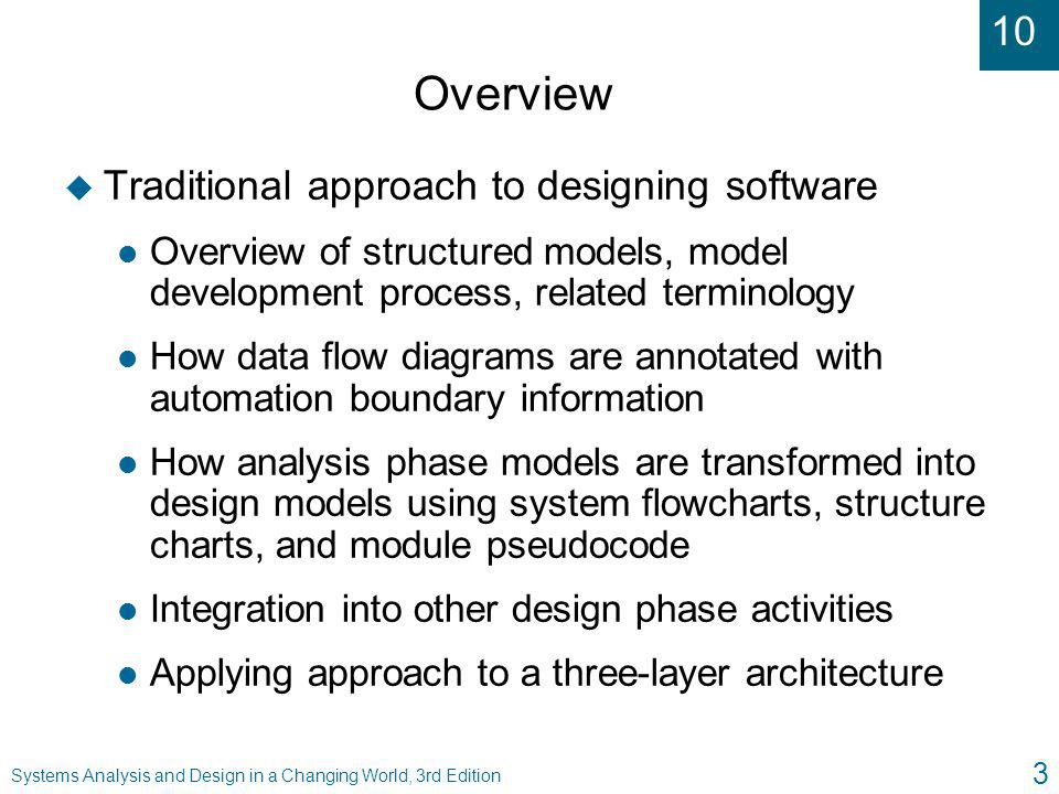 10 Systems Analysis and Design in a Changing World, 3rd Edition 24 Steps to Create a Structure Chart from a DFD Fragment ( continued ) u Add other modules l Get input data via user-interface screens l Read from and write to data storage l Write output data or reports u Add logic from structured English or decision tables u Make final refinements to structure chart based on quality control concepts