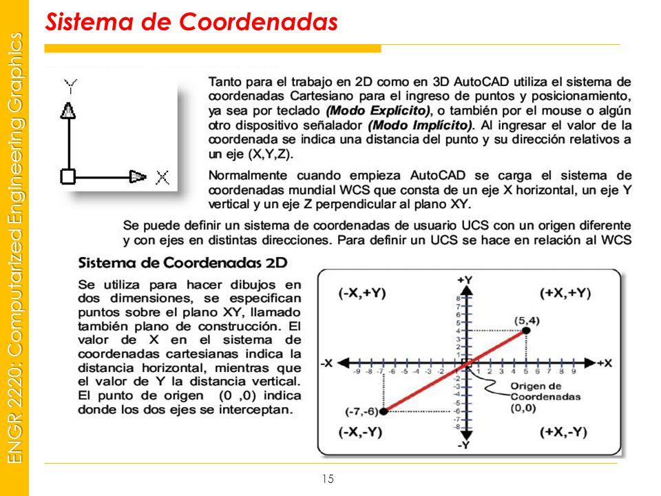 MSP21 Universidad Interamericana - Bayamón ENGR 2220: Computarized Engineering Graphics Sistema de Coordenadas 15