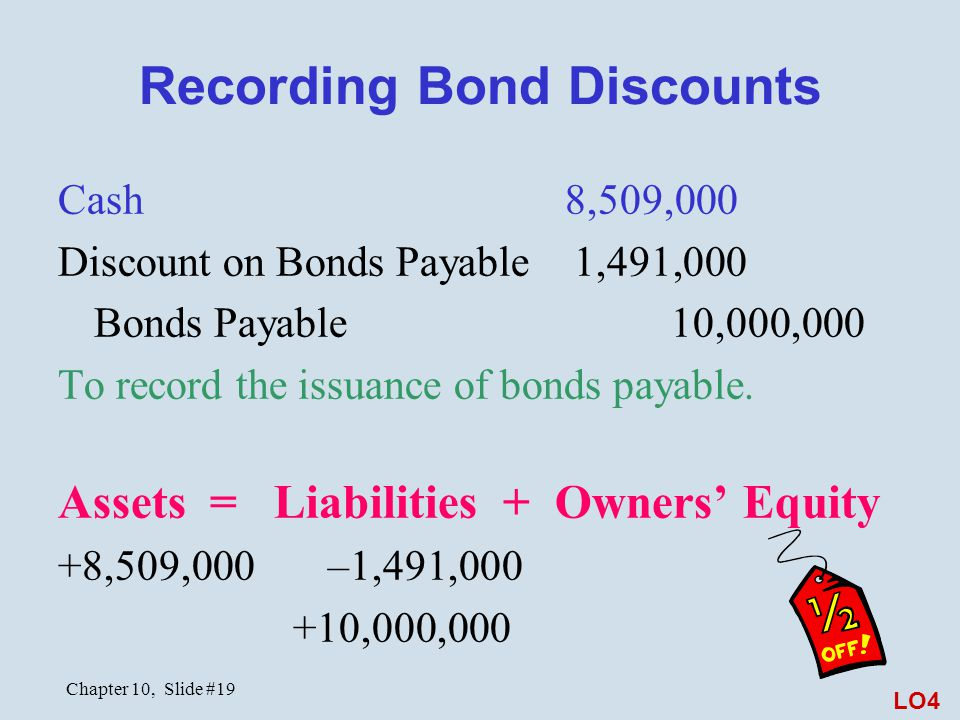 Chapter 10, Slide #19 Recording Bond Discounts Cash 8,509,000 Discount on Bonds Payable 1,491,000 Bonds Payable 10,000,000 To record the issuance of b