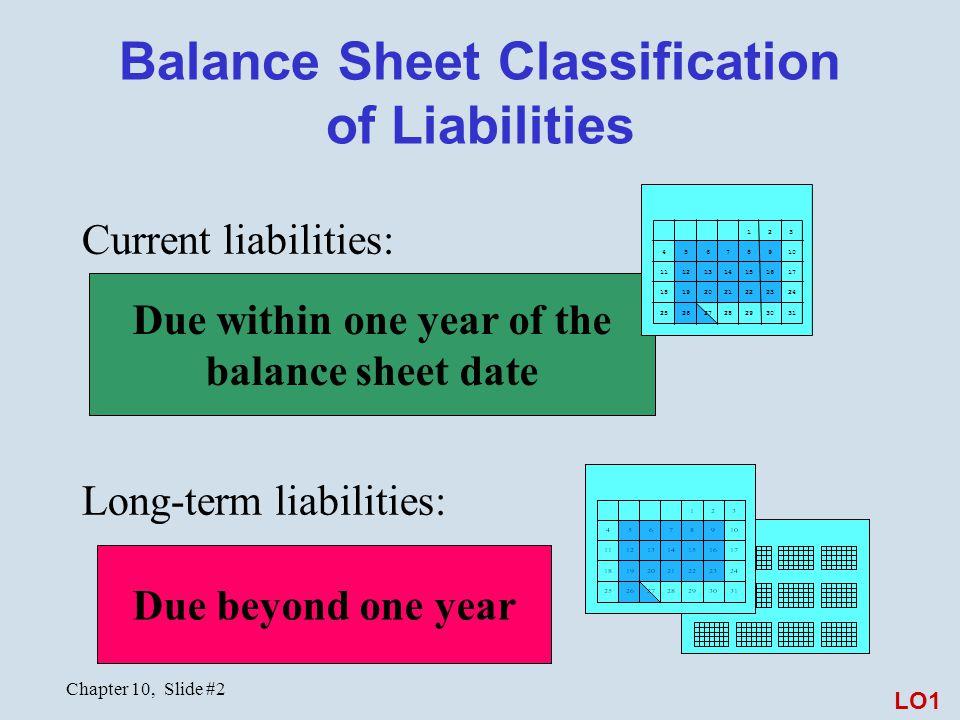 Chapter 10, Slide #2 Balance Sheet Classification of Liabilities Current liabilities: Long-term liabilities: Due within one year of the balance sheet