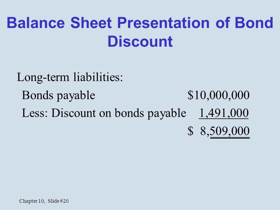 Chapter 10, Slide #20 Balance Sheet Presentation of Bond Discount Long-term liabilities: Bonds payable $10,000,000 Less: Discount on bonds payable 1,4