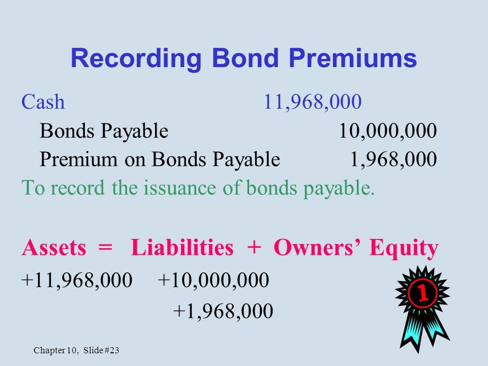 Chapter 10, Slide #23 Recording Bond Premiums Cash11,968,000 Bonds Payable 10,000,000 Premium on Bonds Payable 1,968,000 To record the issuance of bon
