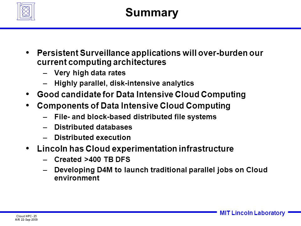MIT Lincoln Laboratory Cloud HPC- 25 AIR 22-Sep-2009 Summary Persistent Surveillance applications will over-burden our current computing architectures