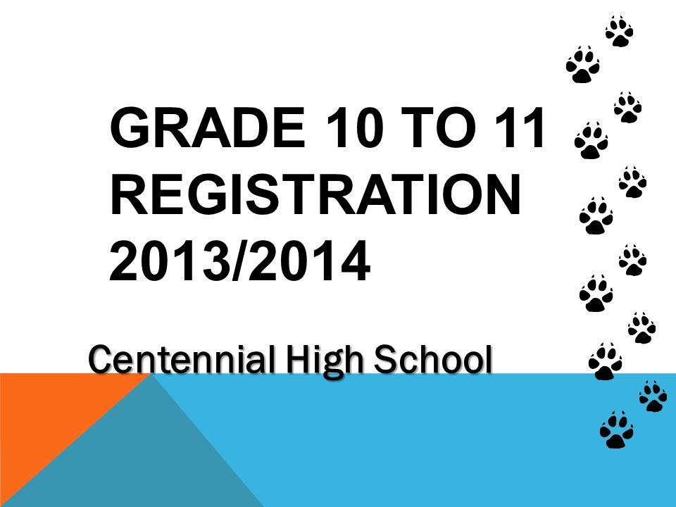 GRADE 10 TO 11 REGISTRATION 2013/2014 Centennial High School