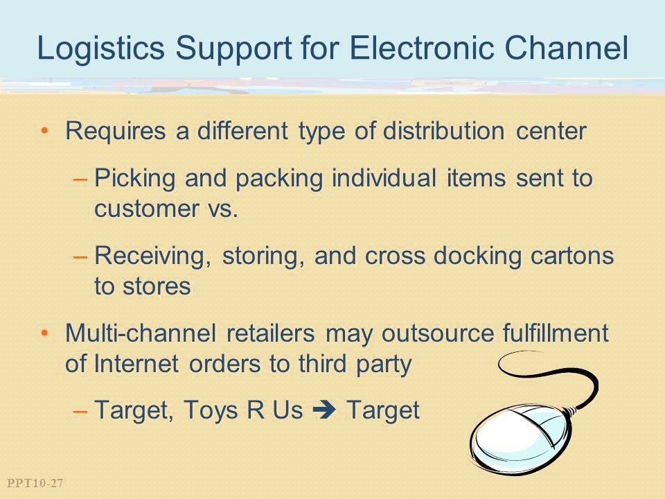 PPT10-27 Logistics Support for Electronic Channel Requires a different type of distribution center –Picking and packing individual items sent to customer vs.