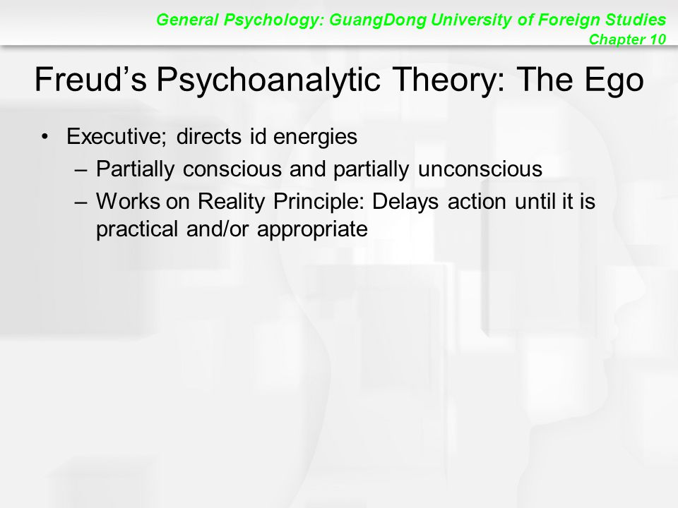 General Psychology: GuangDong University of Foreign Studies Chapter 10 Freud's Psychoanalytic Theory: The Ego Executive; directs id energies –Partially conscious and partially unconscious –Works on Reality Principle: Delays action until it is practical and/or appropriate