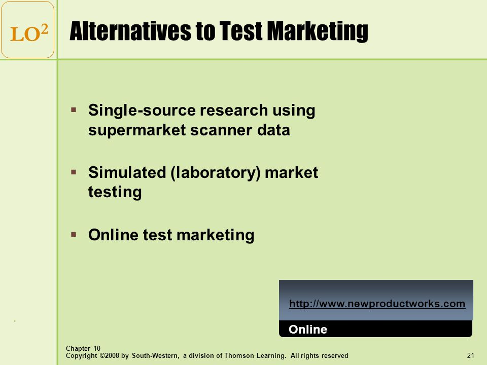 Copyright ©2008 by South-Western, a division of Thomson Learning. All rights reserved Chapter 10 21 LO 2 Alternatives to Test Marketing  Single-sourc