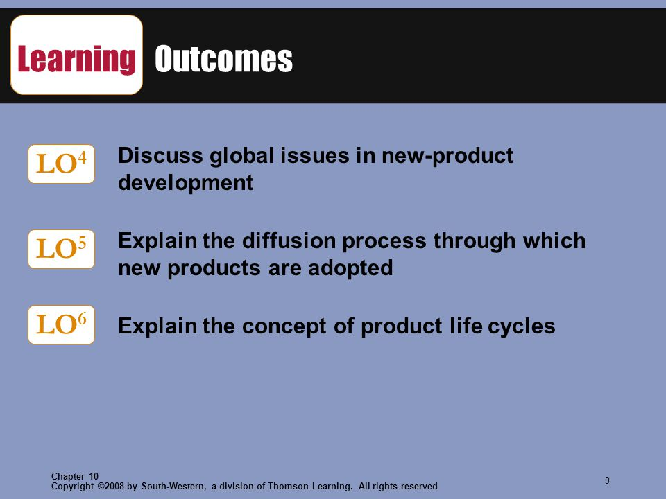 Copyright ©2008 by South-Western, a division of Thomson Learning. All rights reserved Chapter 10 3 Learning Outcomes Discuss global issues in new-prod