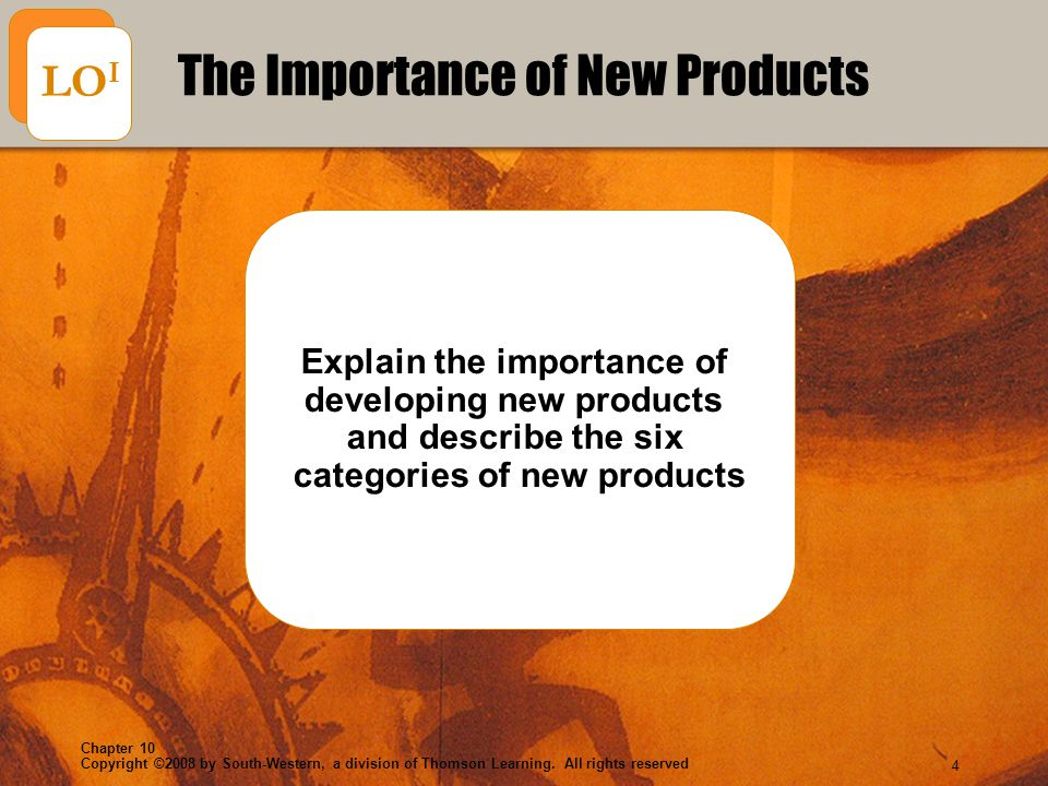 Copyright ©2008 by South-Western, a division of Thomson Learning. All rights reserved Chapter 10 4 Explain the importance of developing new products a