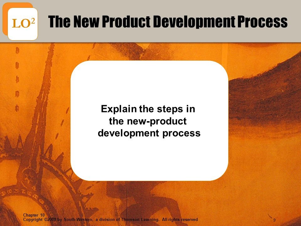 Copyright ©2008 by South-Western, a division of Thomson Learning. All rights reserved Chapter 10 9 Explain the steps in the new-product development pr