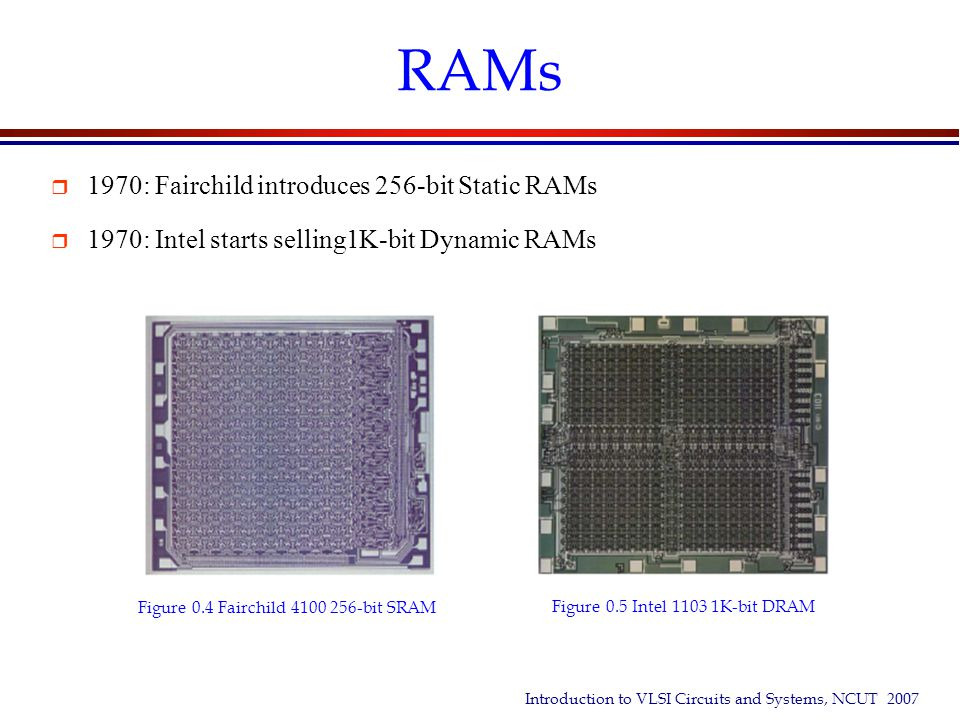 Introduction to VLSI Circuits and Systems, NCUT 2007 RAMs  1970: Fairchild introduces 256-bit Static RAMs  1970: Intel starts selling1K-bit Dynamic