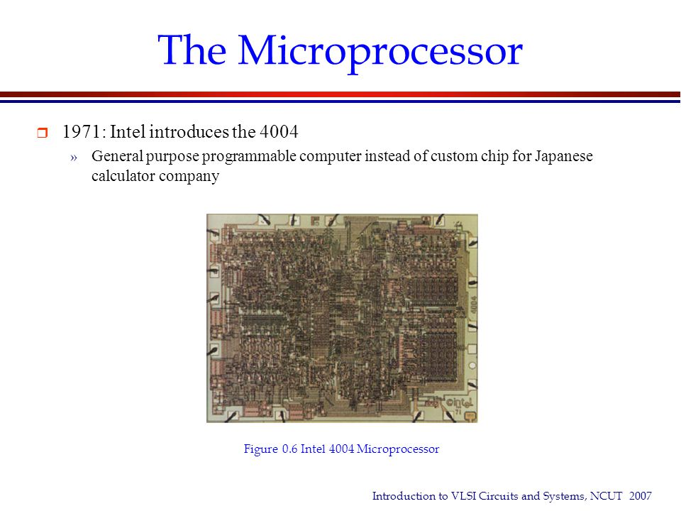 Introduction to VLSI Circuits and Systems, NCUT 2007 Type of IC Designs  IC Designs can be Analog or Digital  CMOS design methods » Microprocessor/DSP » Programmable Logic  Fast prototyping with FPGA or CPLD chips » Gate Array and Sea of Gates Design » Cell-based Design  Designs synthesized automatically from a high-level language description » Full-custom Design  Every transistor designed and laid out by hand » Platform-based Design  System on a chip