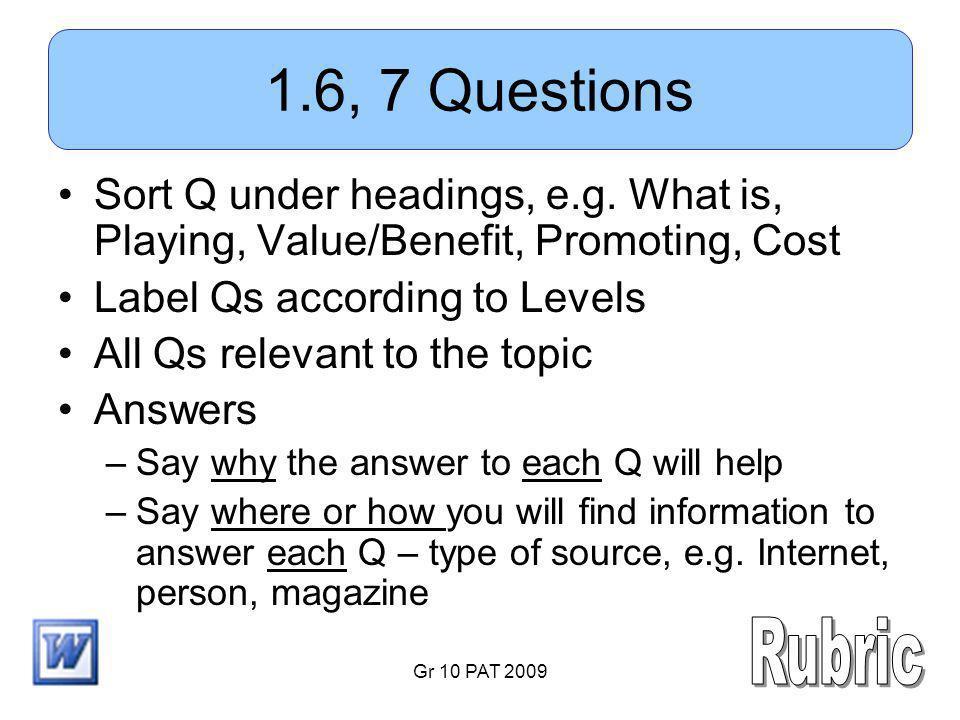 Gr 10 PAT 2009 1.6, 7 Questions Sort Q under headings, e.g.
