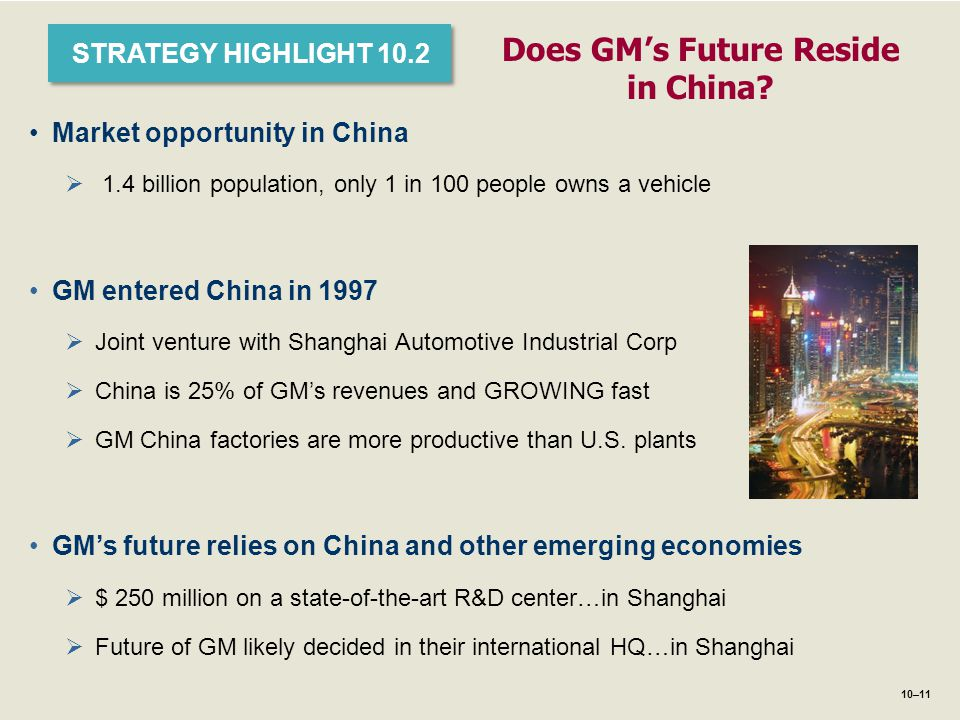 1–11 STRATEGY HIGHLIGHT 10.2 Does GM's Future Reside in China? Market opportunity in China  1.4 billion population, only 1 in 100 people owns a vehic