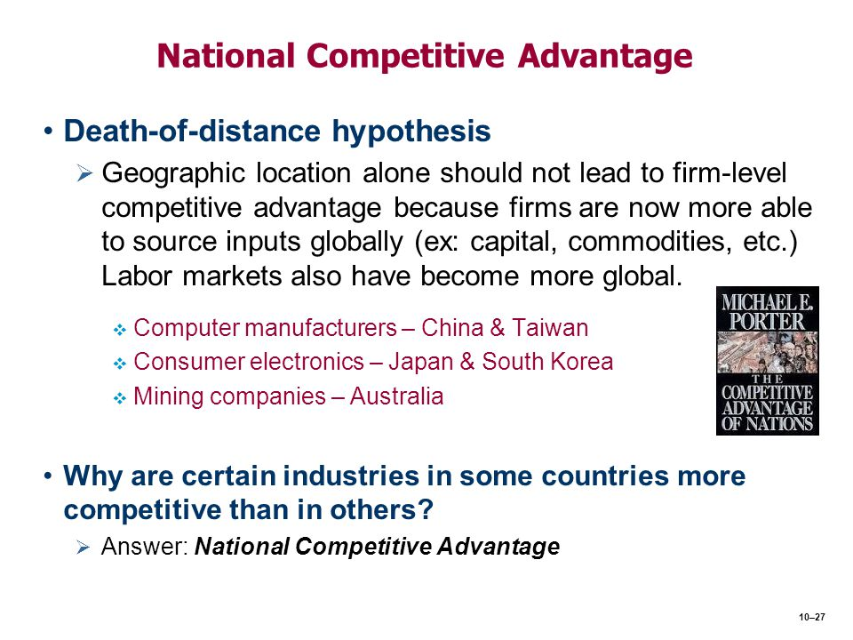 National Competitive Advantage Death-of-distance hypothesis   Geographic location alone should not lead to firm-level competitive advantage because