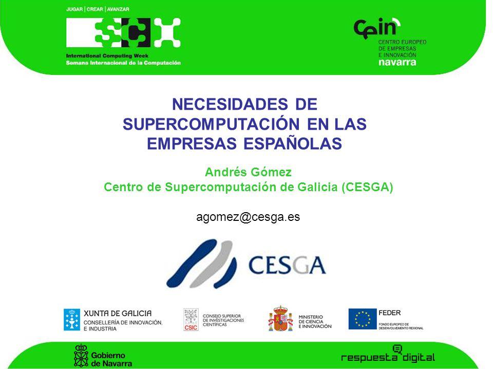 NECESIDADES DE SUPERCOMPUTACIÓN EN LAS EMPRESAS ESPAÑOLAS Andrés Gómez Centro de Supercomputación de Galicia (CESGA) agomez@cesga.es