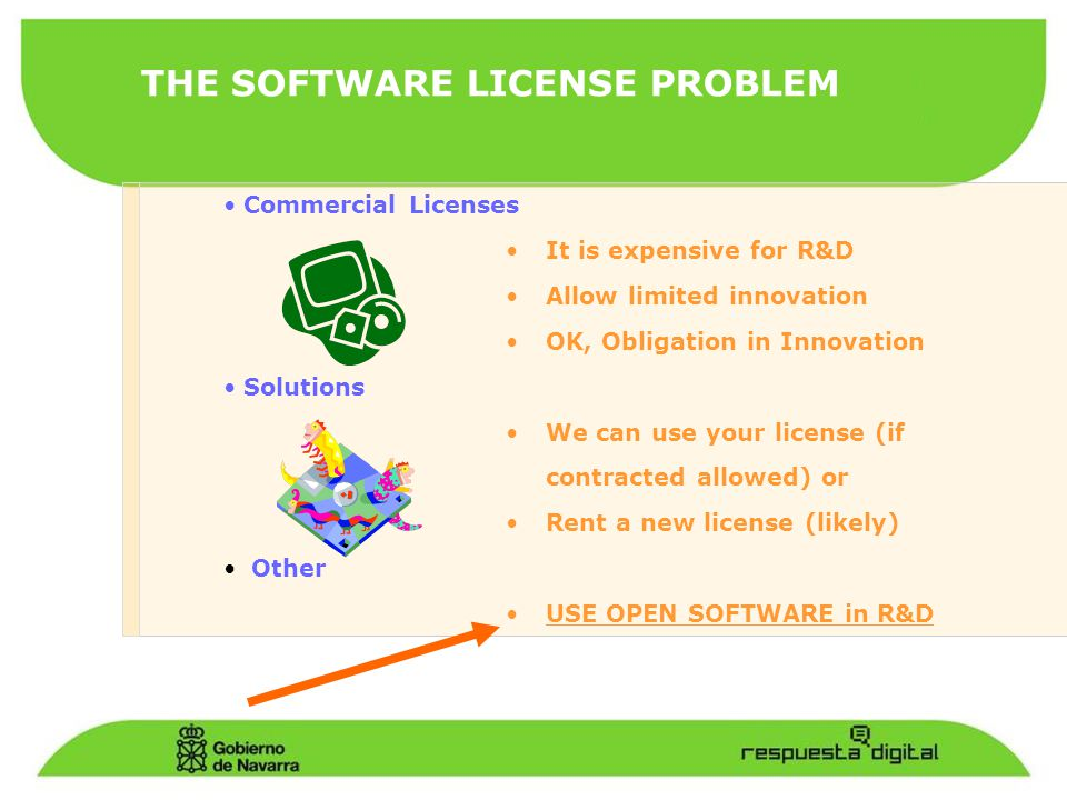 THE SOFTWARE LICENSE PROBLEM Commercial Licenses It is expensive for R&D Allow limited innovation OK, Obligation in Innovation Solutions We can use your license (if contracted allowed) or Rent a new license (likely) Other USE OPEN SOFTWARE in R&D