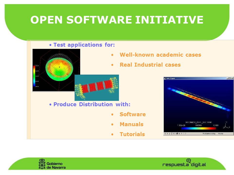OPEN SOFTWARE INITIATIVE Test applications for: Well-known academic cases Real Industrial cases Produce Distribution with: Software Manuals Tutorials