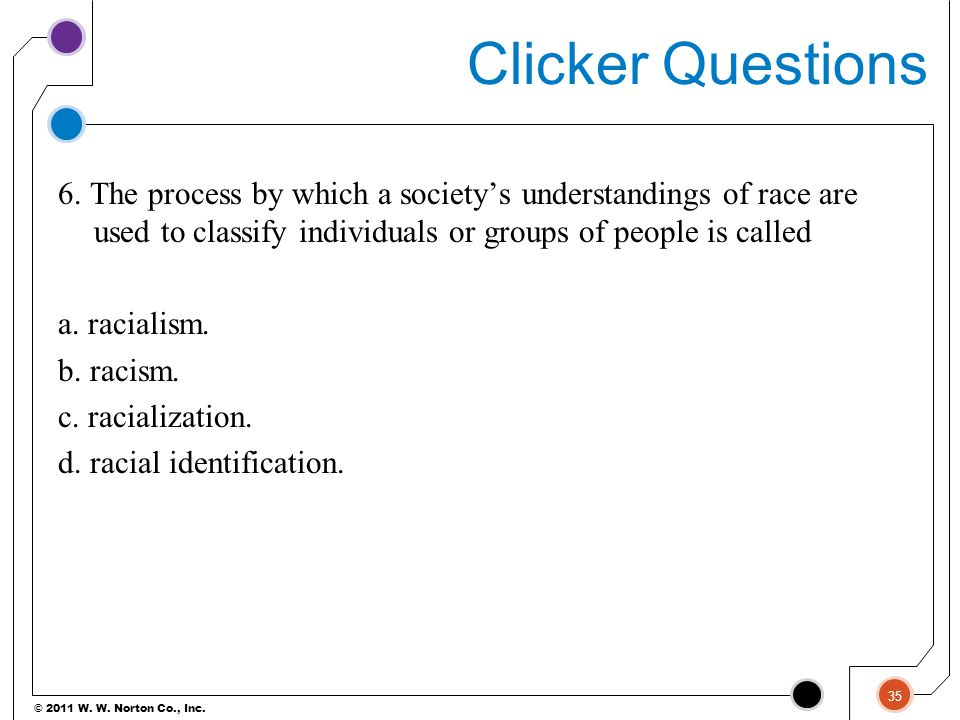 © 2011 W. W. Norton Co., Inc. Clicker Questions 6. The process by which a society's understandings of race are used to classify individuals or groups