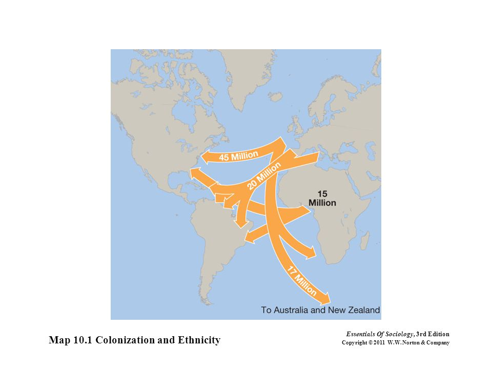 Map 10.1 Colonization and Ethnicity Essentials Of Sociology, 3rd Edition Copyright © 2011 W.W. Norton & Company