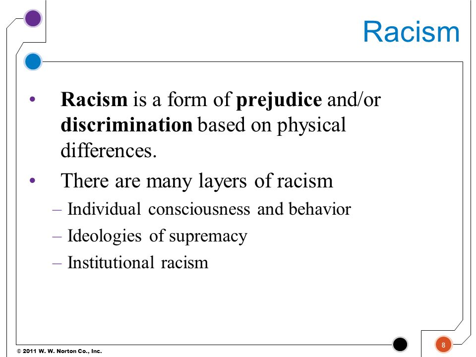 © 2011 W. W. Norton Co., Inc. Racism Racism is a form of prejudice and/or discrimination based on physical differences. There are many layers of racis
