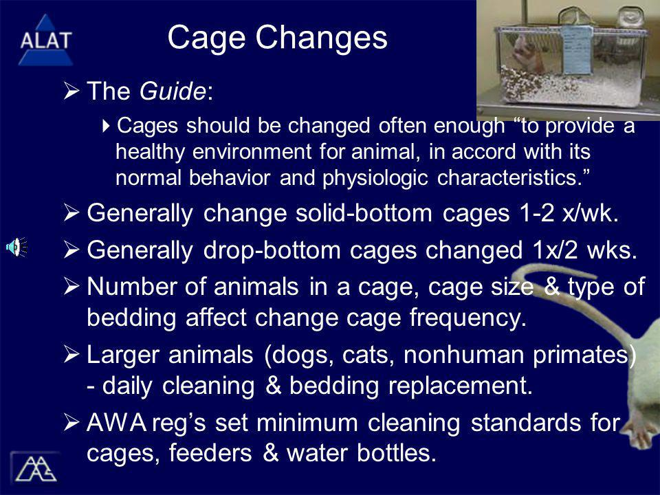 Cage Changes  The Guide:  Cages should be changed often enough to provide a healthy environment for animal, in accord with its normal behavior and physiologic characteristics.  Generally change solid-bottom cages 1-2 x/wk.