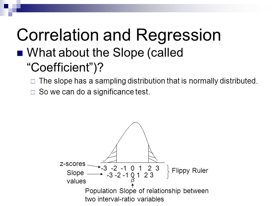"""Correlation and Regression What about the Slope (called """"Coefficient"""")?  The slope has a sampling distribution that is normally distributed.  So we"""