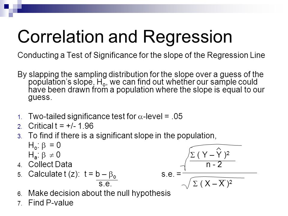 Correlation and Regression Conducting a Test of Significance for the slope of the Regression Line By slapping the sampling distribution for the slope