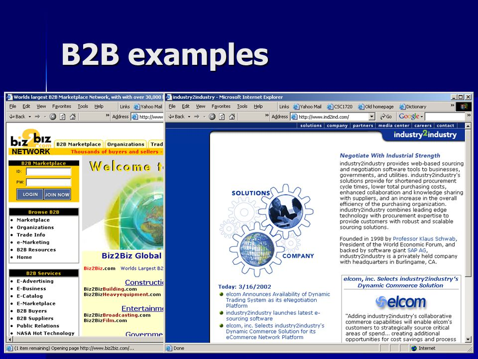 CSC1720 – Introduction to InternetAll copyrights reserved by C.C. Cheung 2003.21 B2B examples