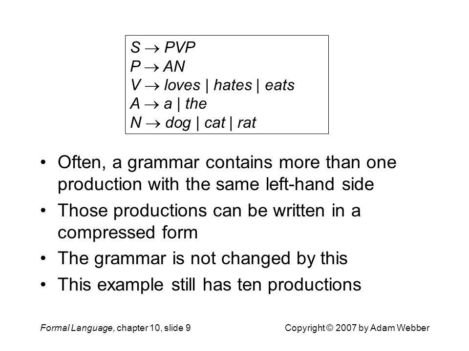 Formal Language, chapter 10, slide 9Copyright © 2007 by Adam Webber Often, a grammar contains more than one production with the same left-hand side Those productions can be written in a compressed form The grammar is not changed by this This example still has ten productions S  PVP P  AN V  loves | hates | eats A  a | the N  dog | cat | rat