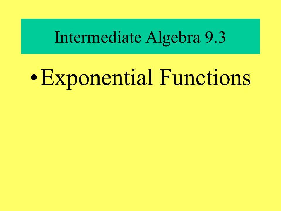 Intermediate Algebra 9.3 Exponential Functions
