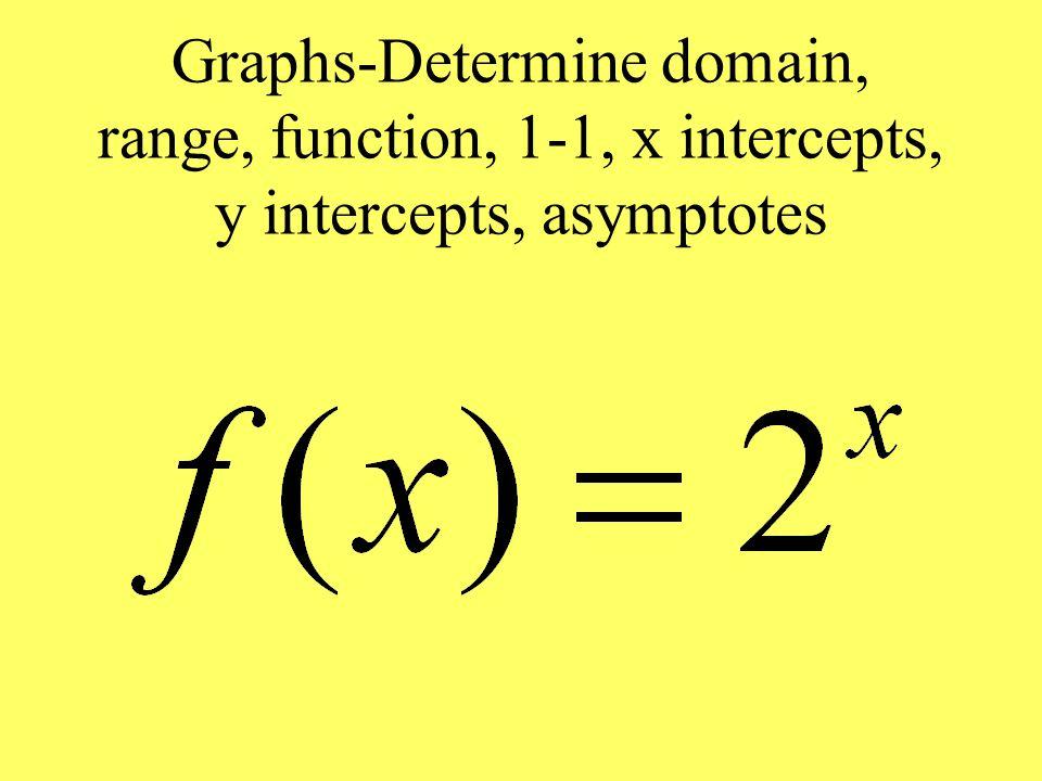 Graphs-Determine domain, range, function, 1-1, x intercepts, y intercepts, asymptotes