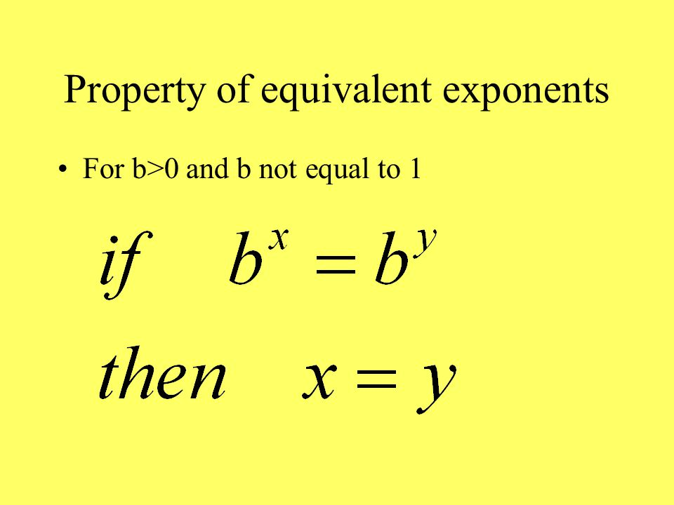 Property of equivalent exponents For b>0 and b not equal to 1