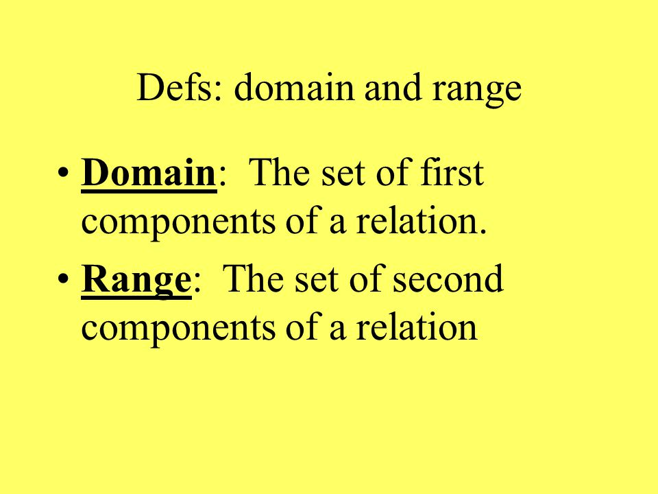 Defs: domain and range Domain: The set of first components of a relation.