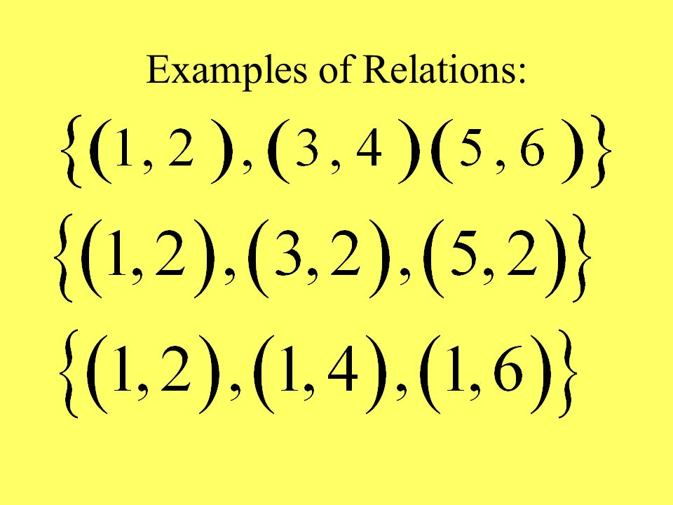Examples of Relations: