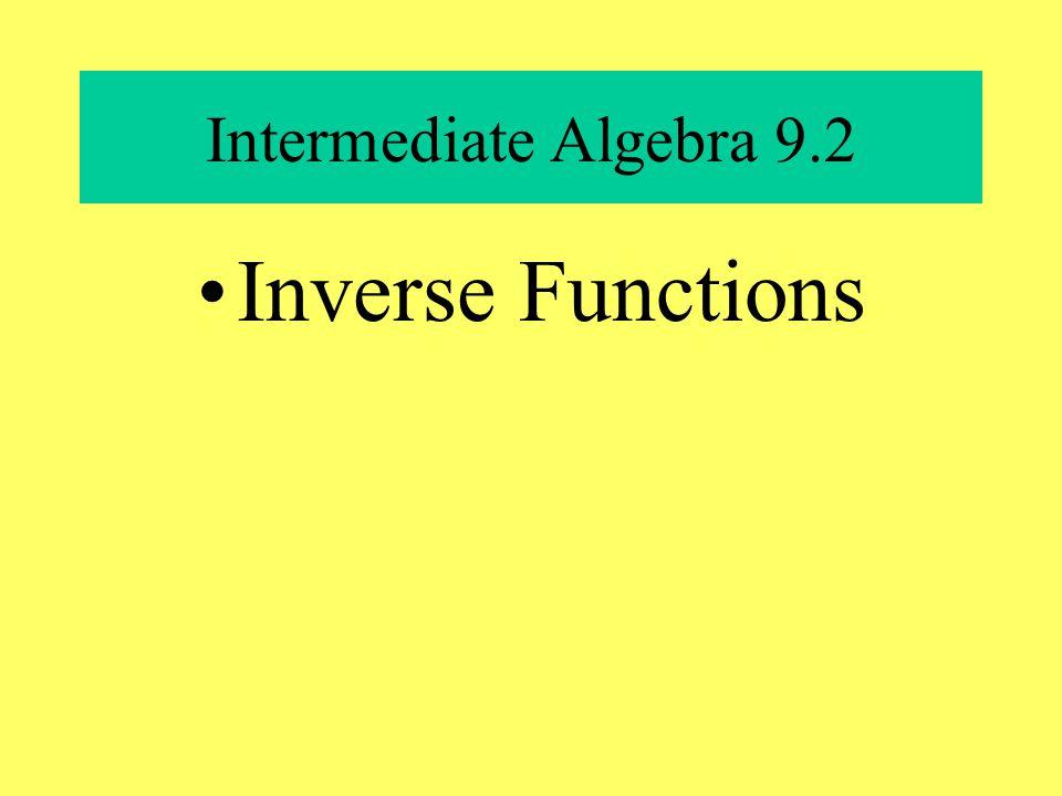 Intermediate Algebra 9.2 Inverse Functions